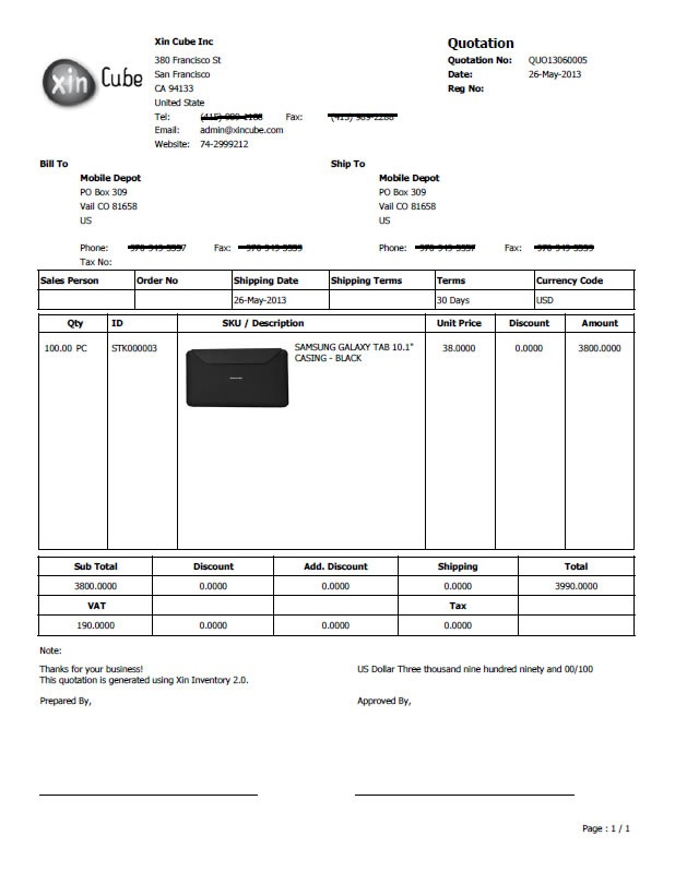 invoice software Quotation Template - sample invoice quotation