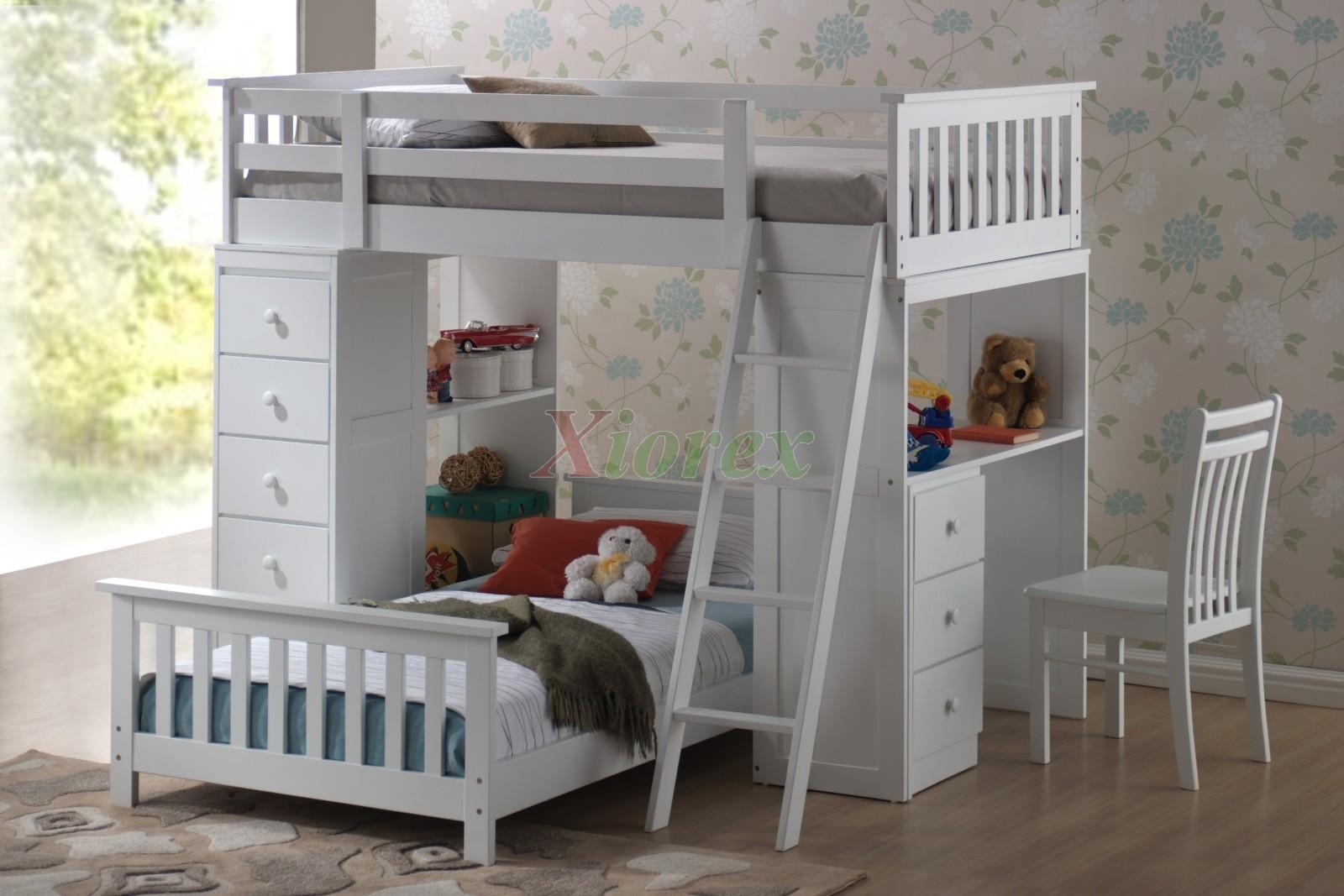 Huckleberry Loft Bunk Beds For Kids With Storage Desk