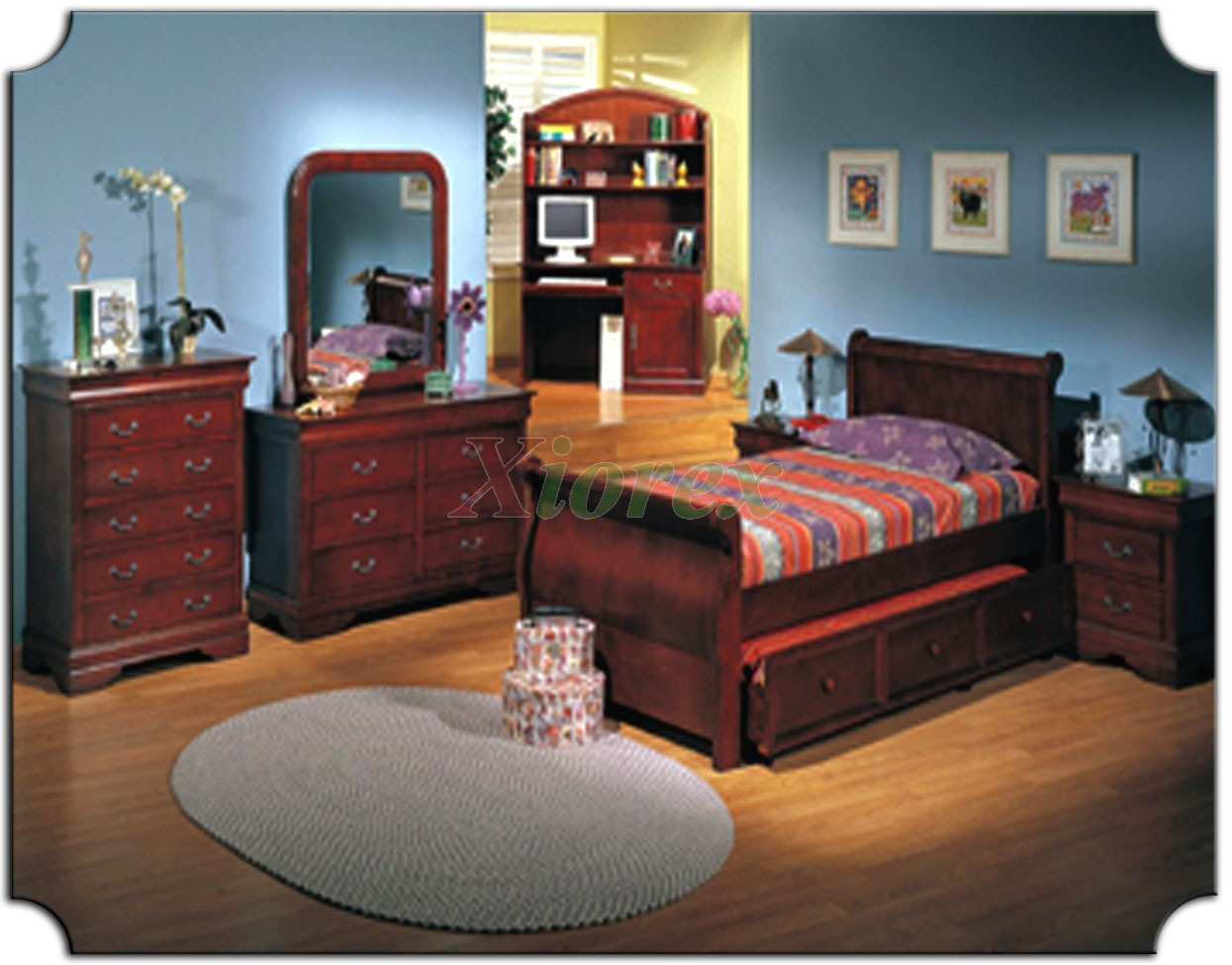 Kids Sleigh Bedroom Furniture Set With Trundle Bed 179
