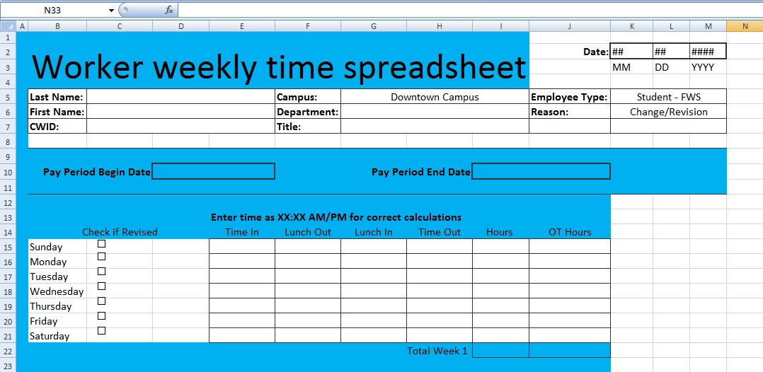 Download Worker weekly time spreadsheet template XLS - Free Excel