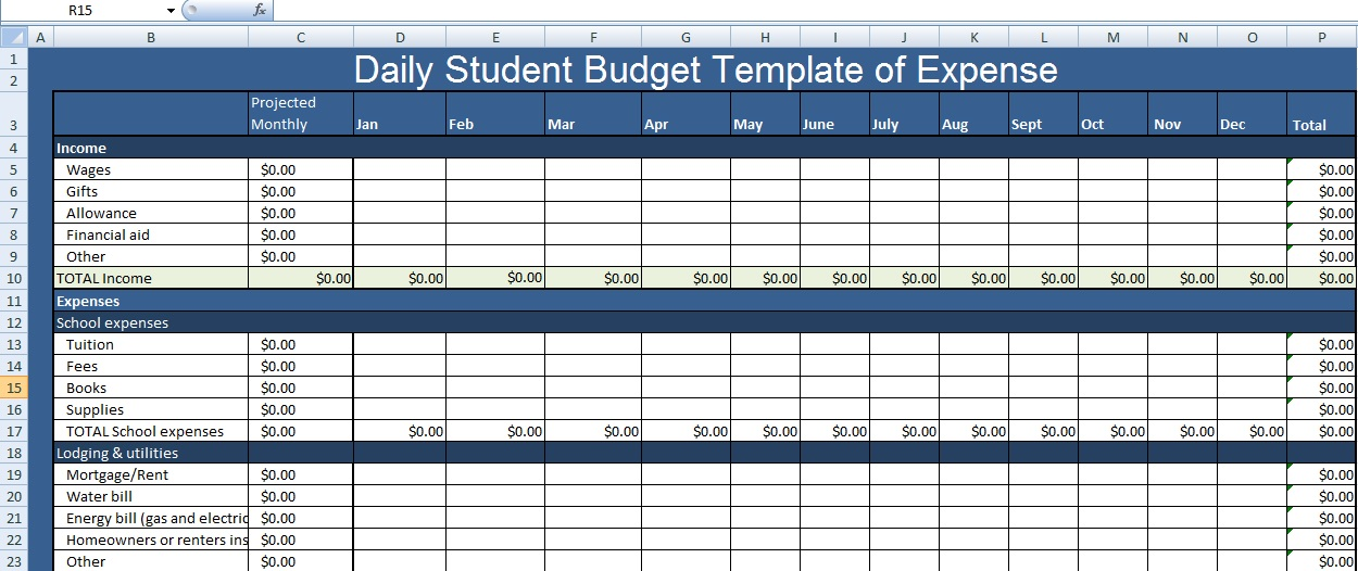 Daily Student Budget Template of Expense XLS - Free Excel - expense budget template