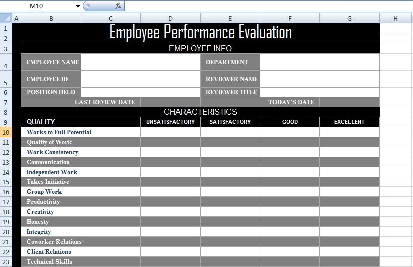 Employee Performance Evaluation Form XLS - Free Excel Spreadsheets