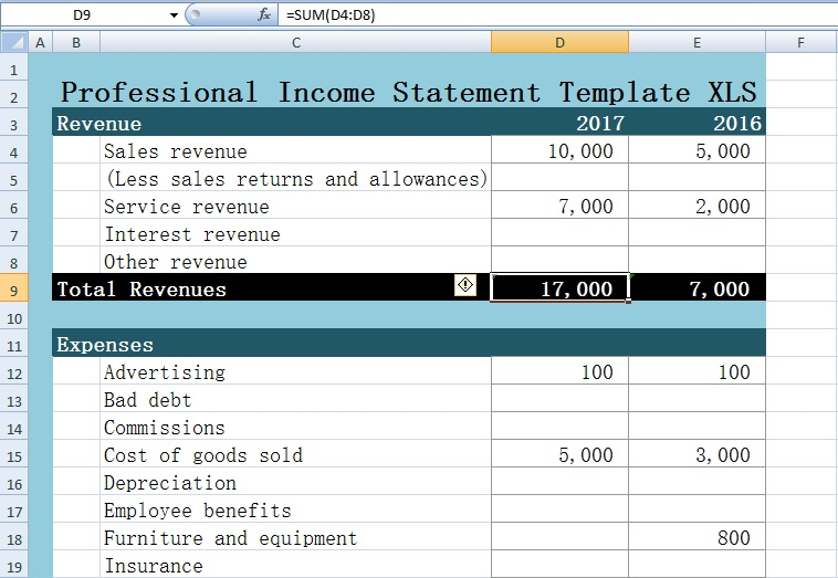Professional Income Statement Template Excel XLS - Free Excel
