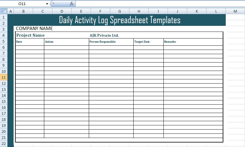 Get Daily Activity Log Spreadsheet Templates - Free Excel - daily task log template