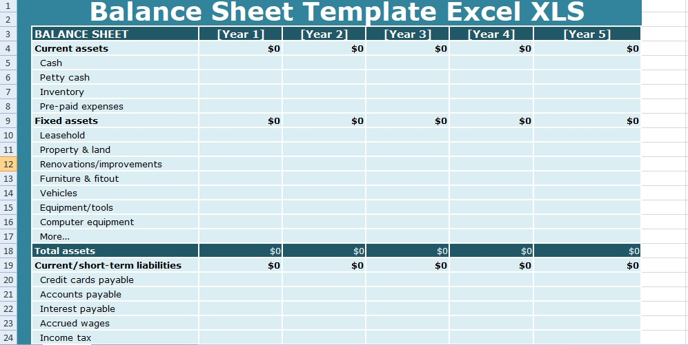 Get Balance Sheet Templates Excel XLS - Free Excel Spreadsheets and