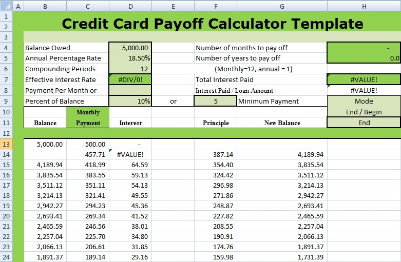 payoff calculator credit card template