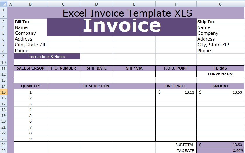 Excel Invoice Template XLS Free XLStemplates - excel invoice template