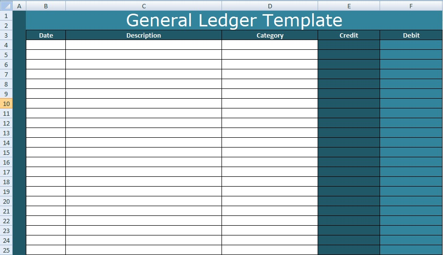 General Ledger Template Excel XLS XLStemplates