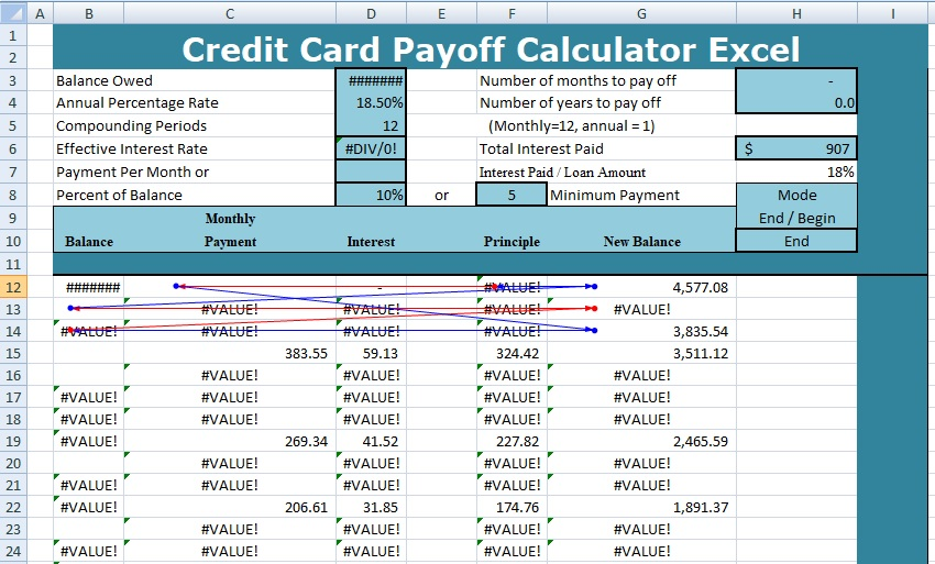 credit card debt calculator payoff