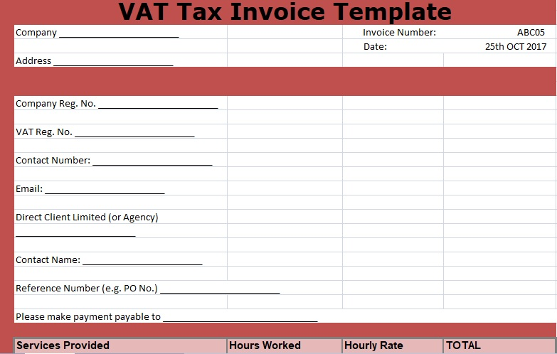 VAT Tax Invoice Template Free XLStemplates - Tax Invoice Layout