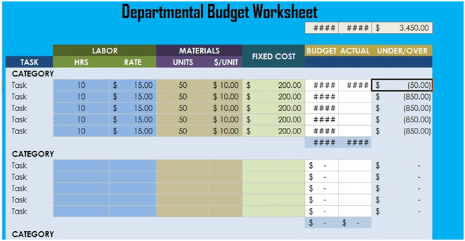 budgets in excel