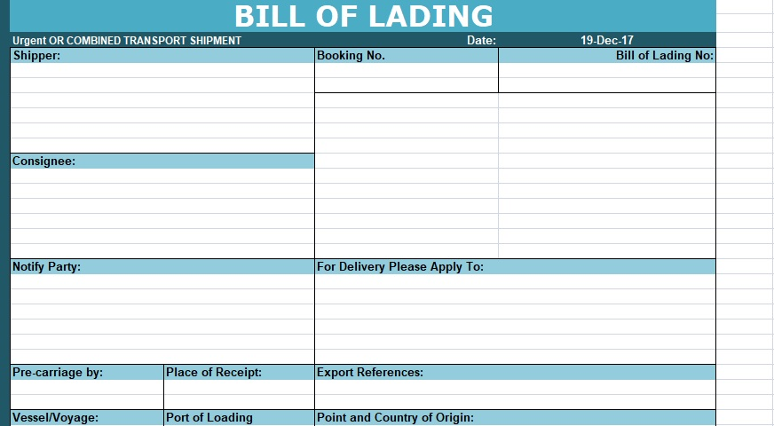 Download Bill of Lading Template XLStemplates - free bill of lading