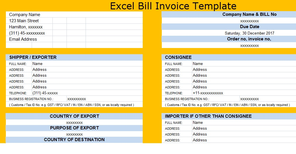 Download Excel Bill Invoice Template XLStemplates - name and address template