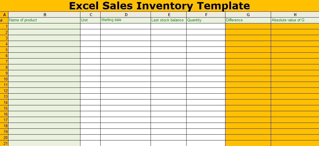 Excel Sales Inventory Template Free XLStemplates