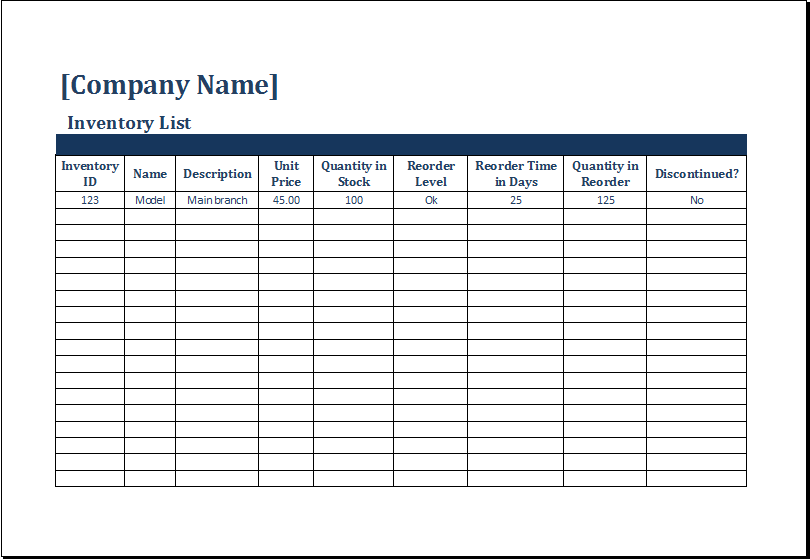 Ms Excel Printable Inventory Count Sheet Template Excel
