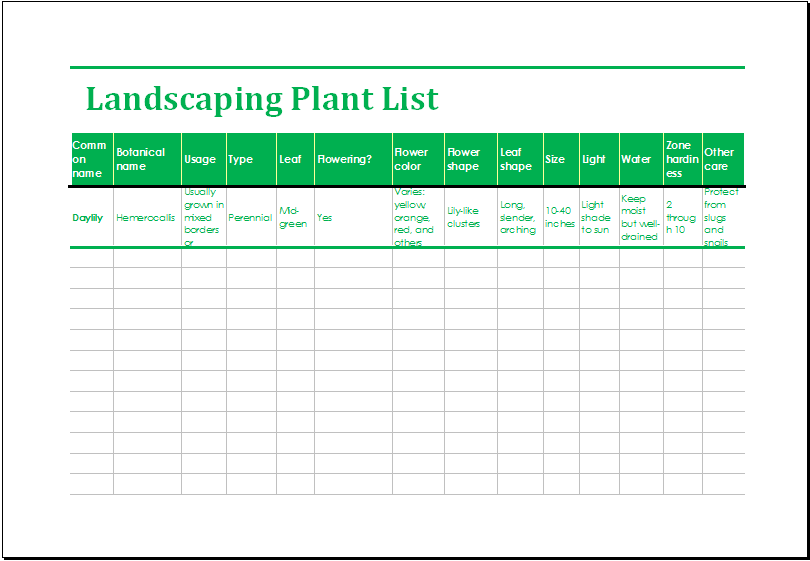 Landscaping Plant List Template MS Excel