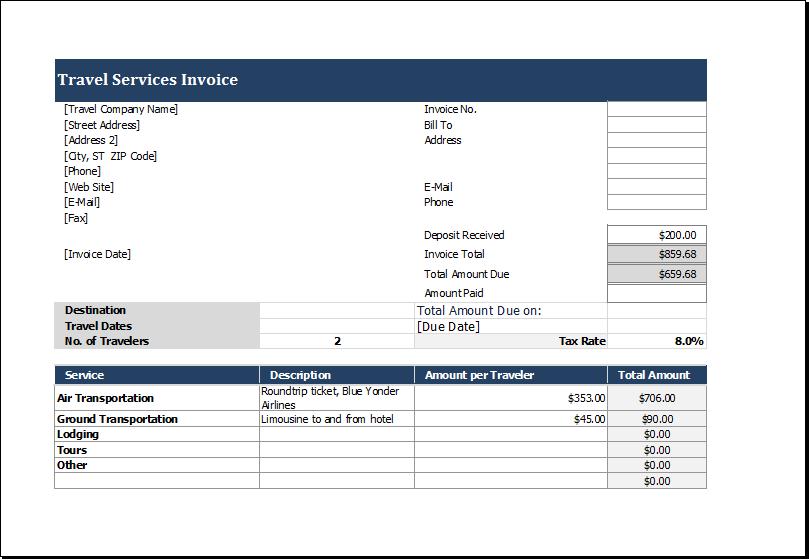 ms excel invoice