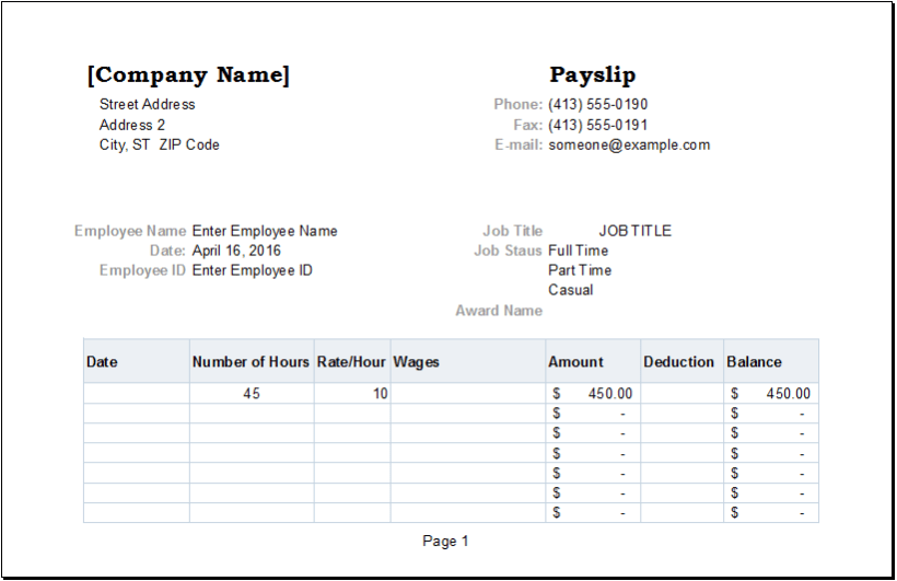 nsw payslip template