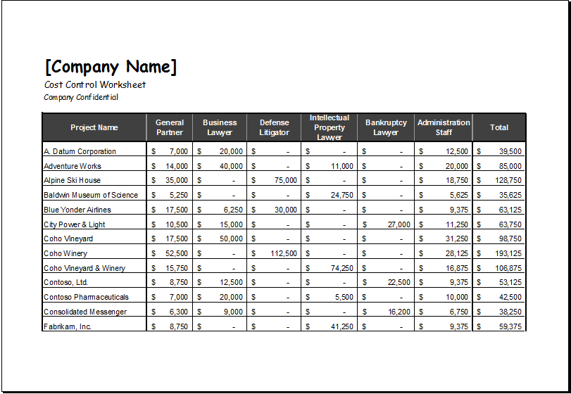 project costing template