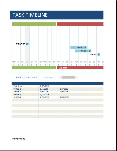 Task Timeline Worksheet Template for EXCEL Excel Templates - task worksheet template