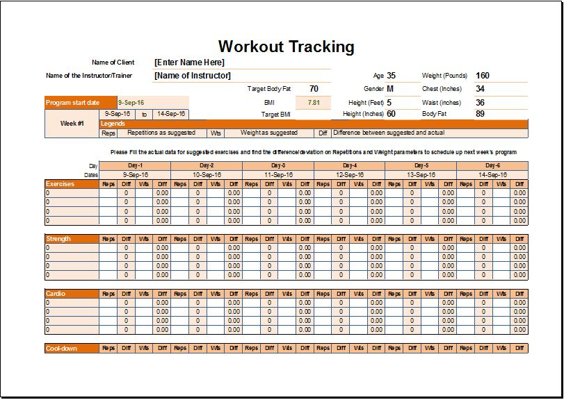 Workout Schedule  Tracker Template for EXCEL Excel Templates