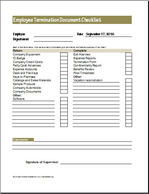Document Checklists for New \ Terminated Employee Excel Templates - employee termination form