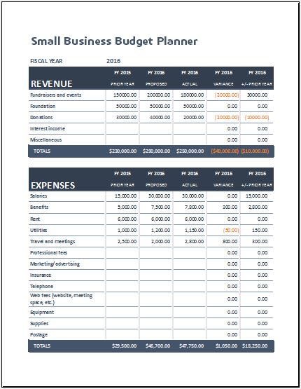 Small Business Budget Planning Sheet for MS Excel Excel Templates