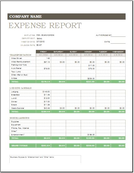 Daily, Weekly  Monthly Expense Report Template Excel Templates
