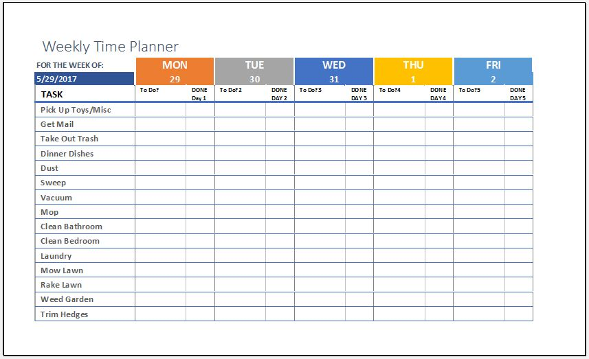 Weekly Time Planner Template for MS Excel Excel Templates
