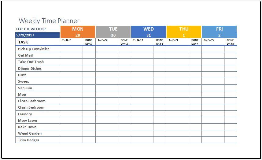 weekly excel planner