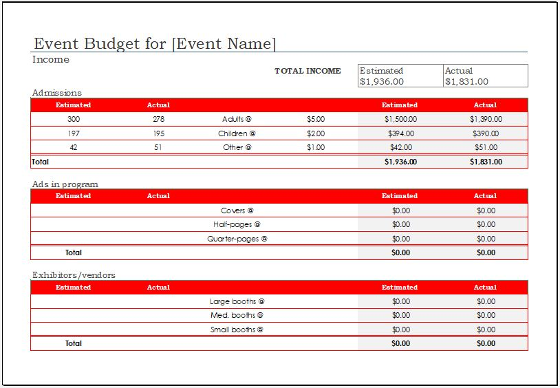 Event Budget Template -2018 for MS Excel Excel Templates