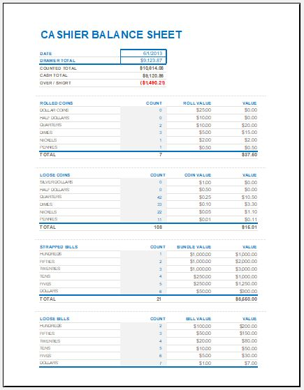 Cash Drawer Reconciliation Sheet Template Excel Templates