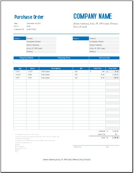 purchase order form excel