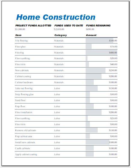home expense sheet