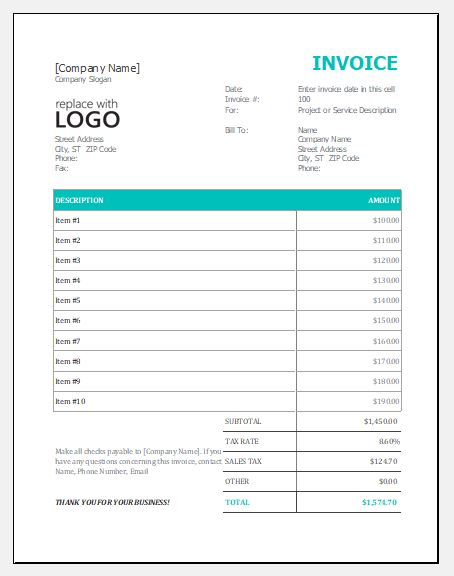 Free Excel Invoice Templates for Every Business Excel Templates - free excel invoice template