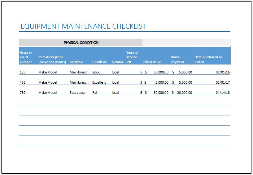 Equipment Maintenance Checklist Template for Excel Excel Templates