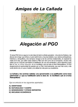 Amigos de La Cañada - Alegación al PGO - Plan General de Ordenación de La Laguna