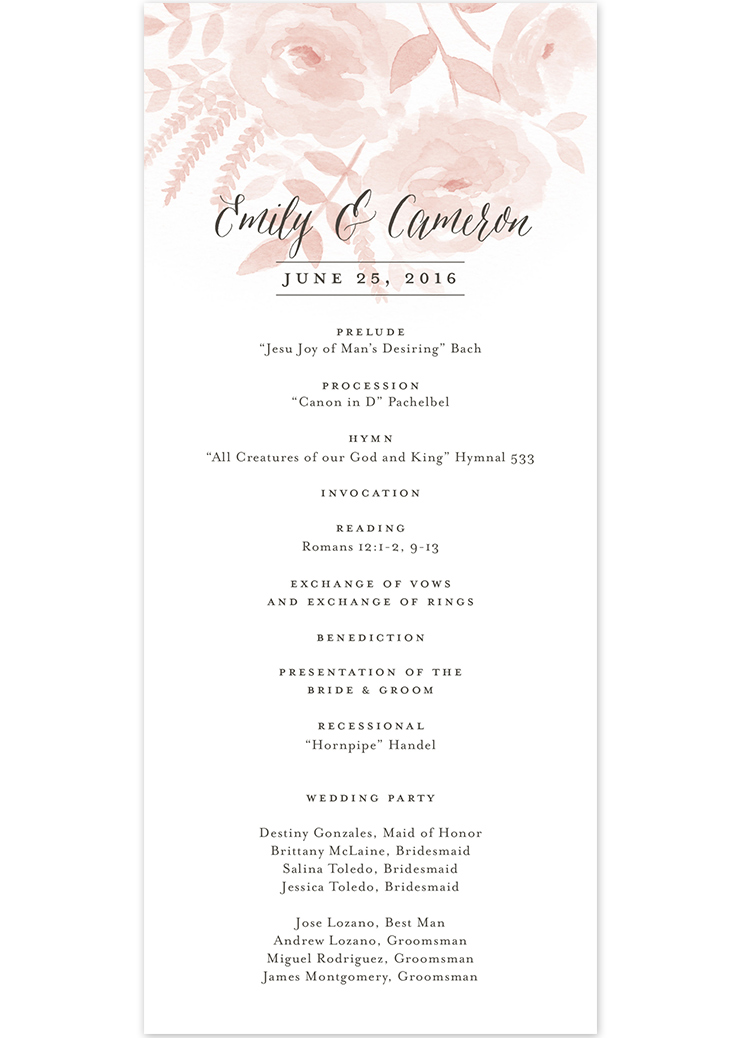 wedding agenda sample