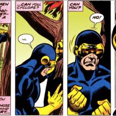 In a moment of clarity, Cyclops recognizes that the X-Men's greatest enemy is, in fact, the guy writing the book. (X-Men #96)