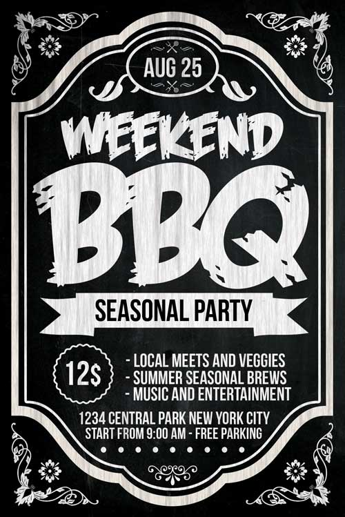 Chalkboard BBQ Flyer Template PSD Download - XtremeFlyers - bbq flyer