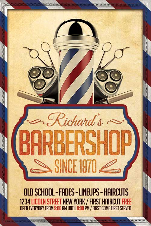 Barber Shop Flyer Template - XtremeFlyers - retro flyer template