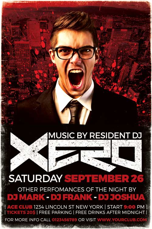 Xero DJ Flyer Template PSD Download - XtremeFlyers