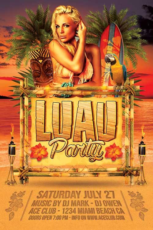 Luau Party Flyer Template - XtremeFlyers
