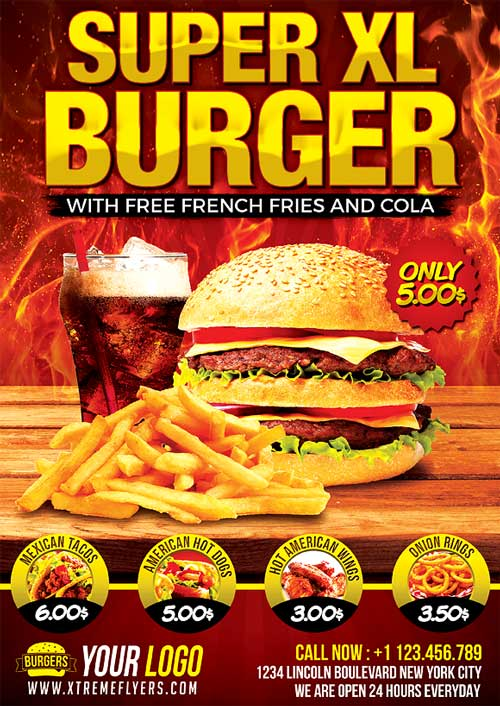 Fast Food Flyer Template PSD Download - XtremeFlyers