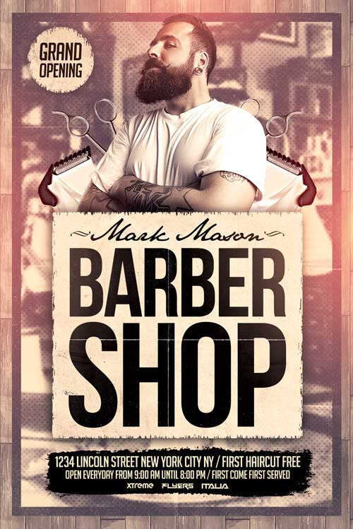 FREE Barber Shop Flyer Template - XtremeFlyers - Grand Opening Flyer