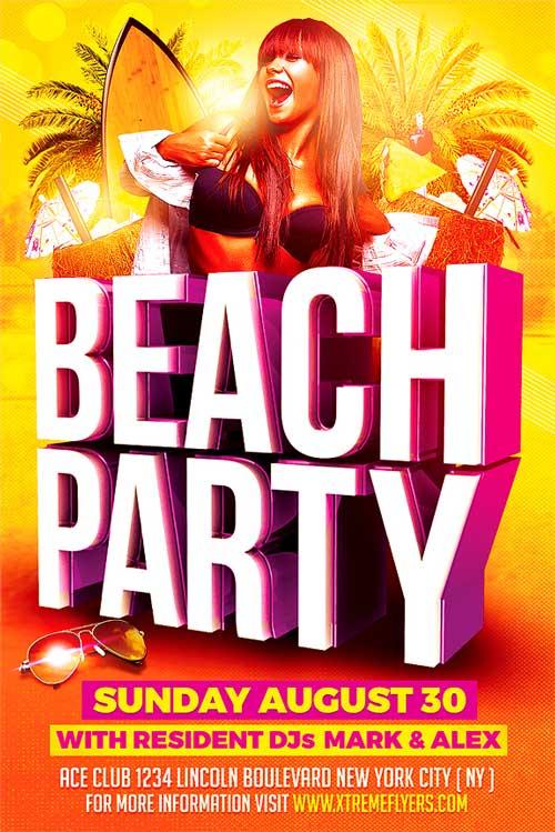 Beach Summer Party Flyer Template - XtremeFlyers