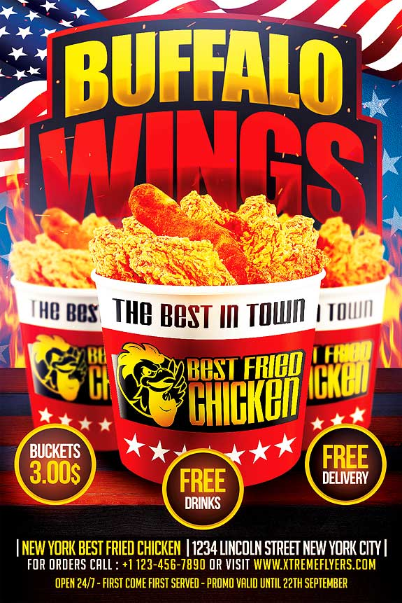 Wings Fast Food Flyer Template - Xtremeflyers