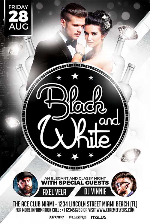 Black and White Party Flyer Template - XtremeFlyers - black and white flyer template