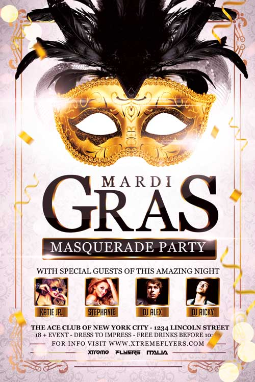 Carnival Masquerade Party Flyer Template Download - XtremeFlyers