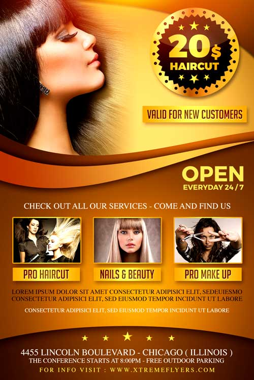 Hair Salon Flyer Templates Gallery - Template Design Free Download